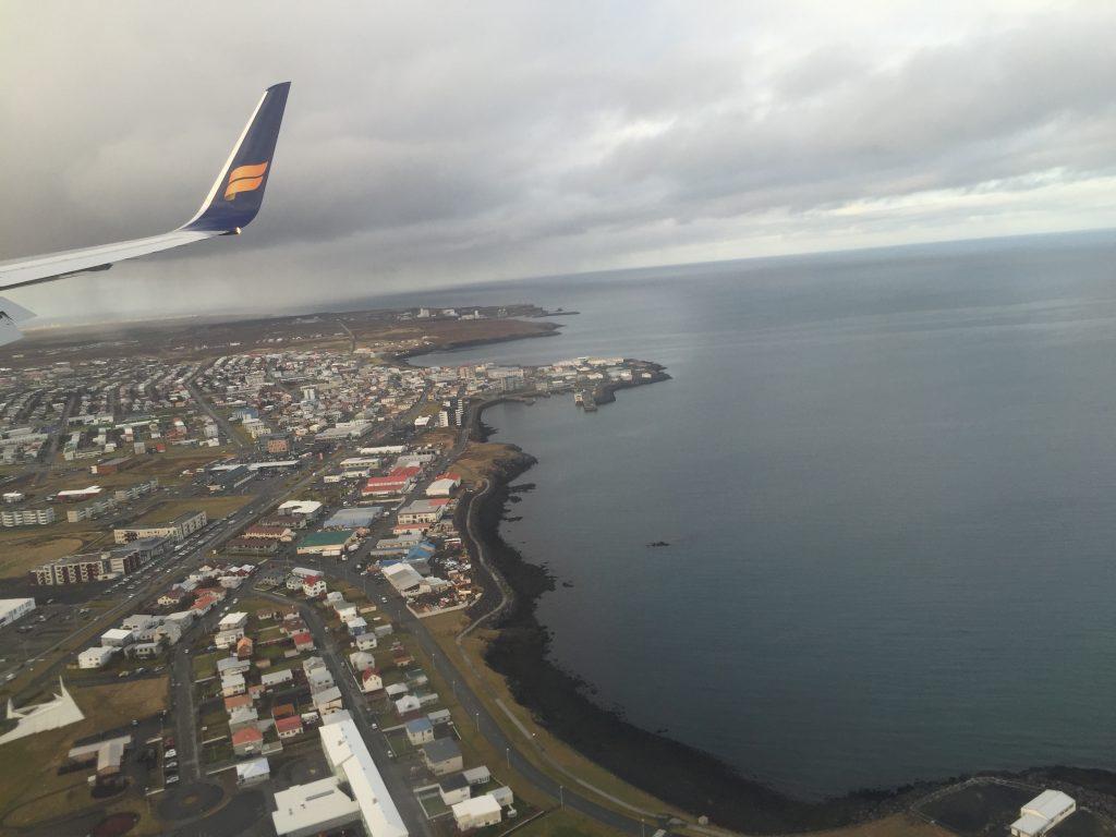 Flying over Reykjavík, Iceland