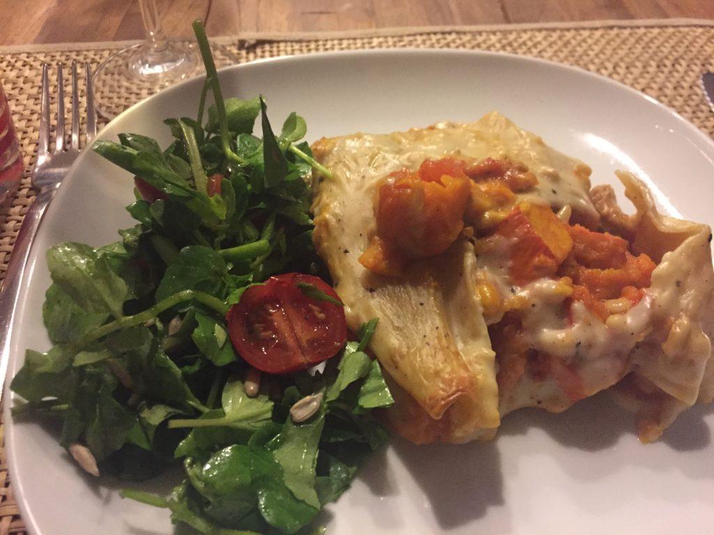 Tobias' homemade pumpkin lasagne